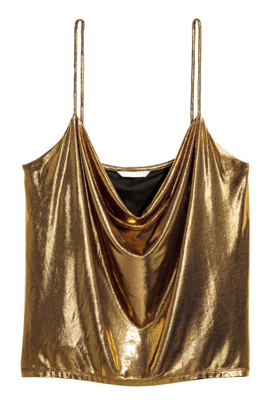 Draped top - Gold-coloured/Coated - Ladies | H&M
