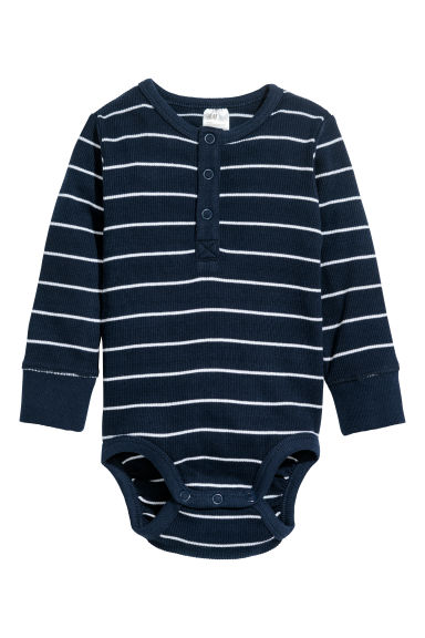 Long-sleeved bodysuit - Dark blue/Striped - Kids | H&M