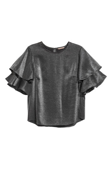 H&M+ Flounce-sleeved blouse - Silver-coloured - Ladies | H&M