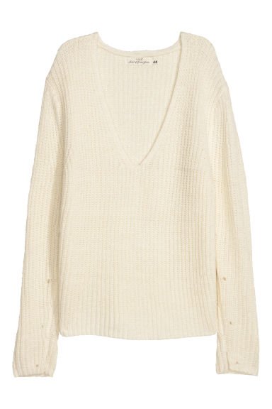 Double-knitted jumper - White -  | H&M