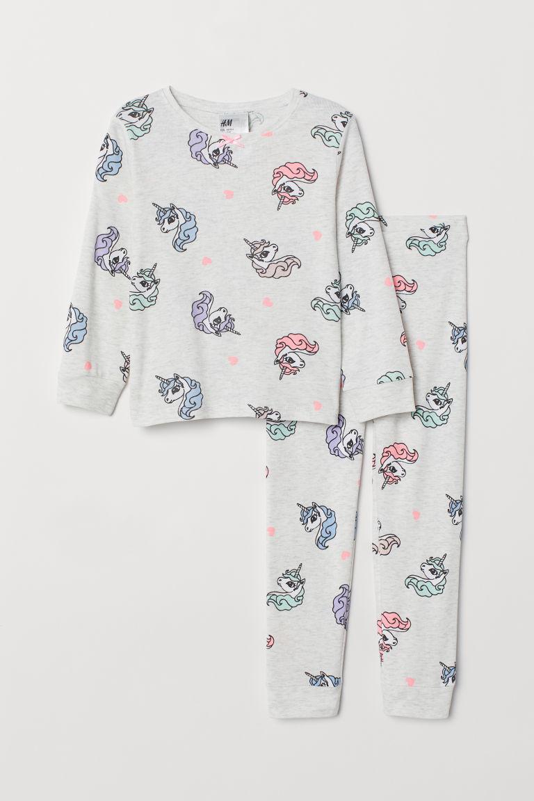 Jersey pyjamas - Light grey marl/Unicorns - Kids | H&M GB