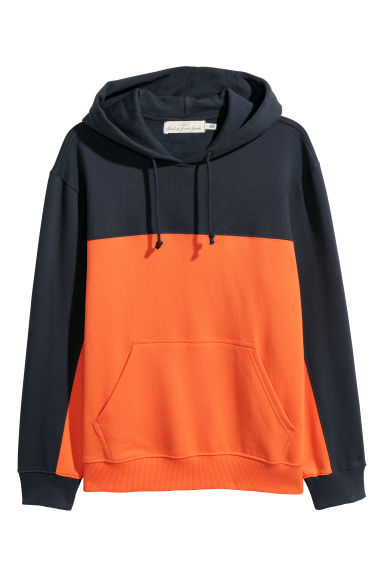 Block-coloured hooded top - Orange/Dark blue - Men | H&M
