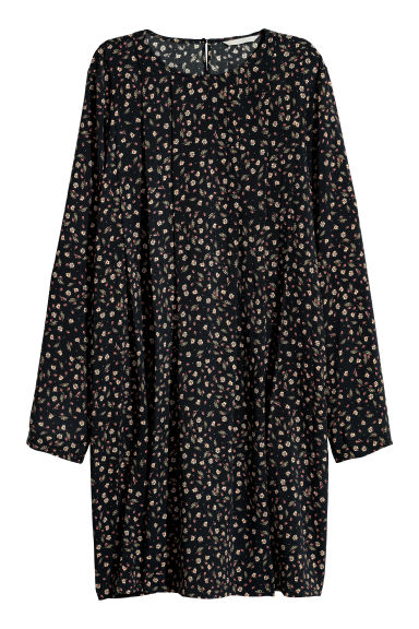 Dress with pleats - Black/Patterned -  | H&M CN