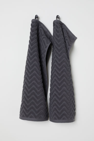 2-pack guest towels - Anthracite grey - Home All | H&M CN