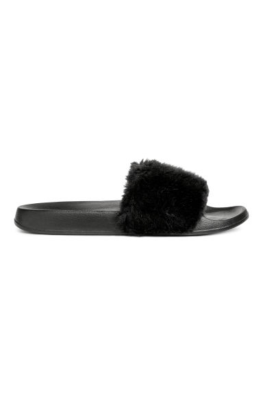 Faux fur mules - Black -  | H&M