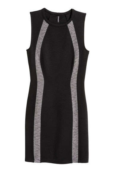 Sleeveless jersey dress - Black/Grey -  | H&M GB
