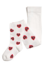 2-pack tights - Pink/Hearts - Kids | H&M CN 4