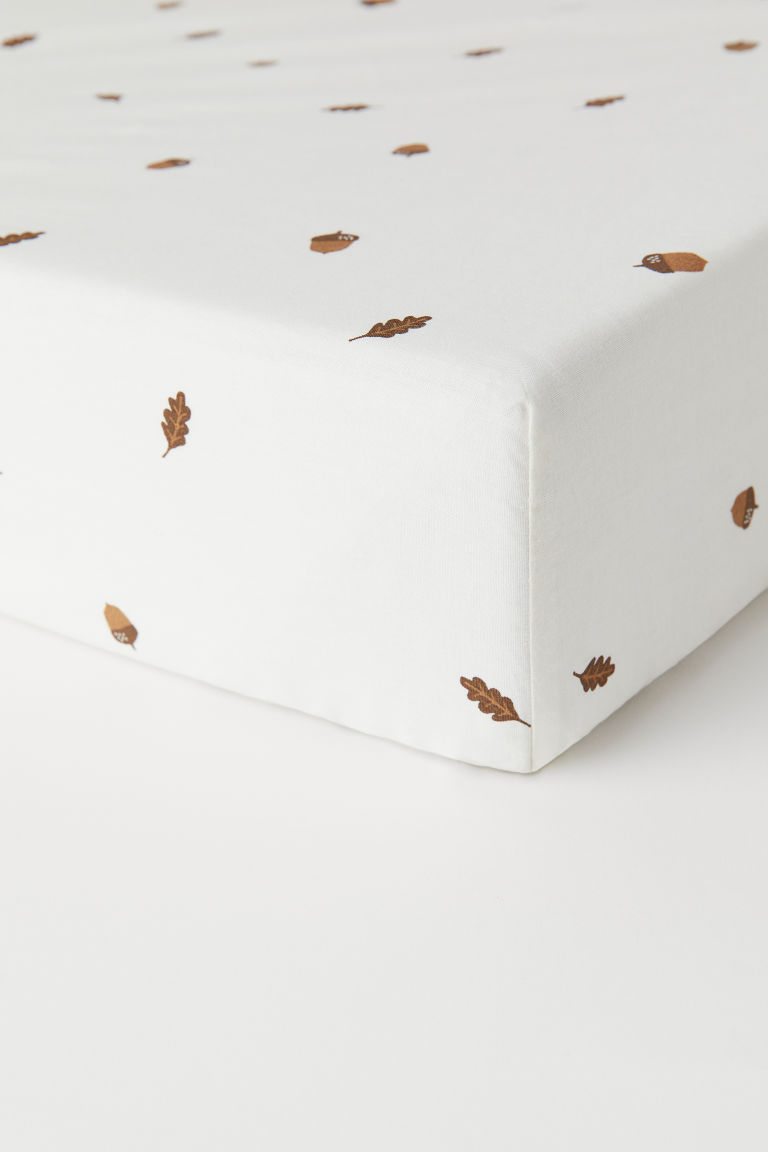 Fitted sheet - Natural white/Patterned - Home All | H&M GB