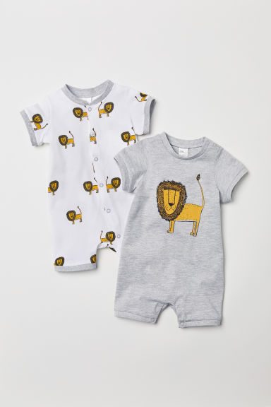 2-pack all-in-one pyjamas - Light grey/Lion -  | H&M CN
