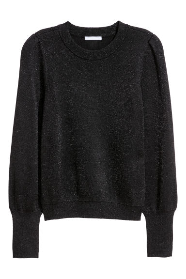 Fine-knit jumper - Black/Glitter - Ladies | H&M