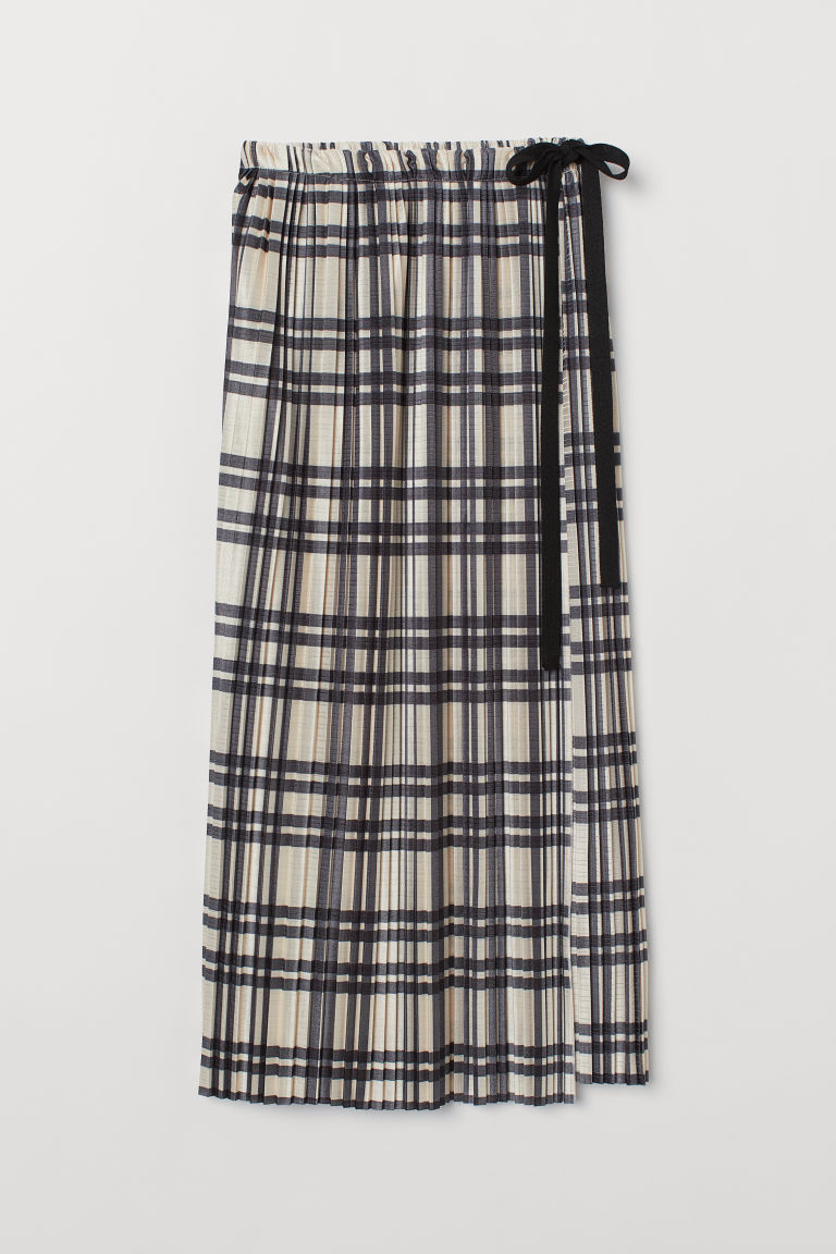 Pleated wrapover skirt - Beige/Checked -  | H&M GB