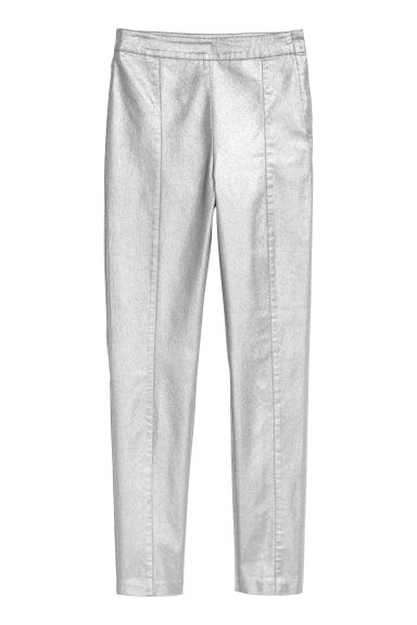 Stretch trousers - Silver-coloured/Coated - Ladies | H&M