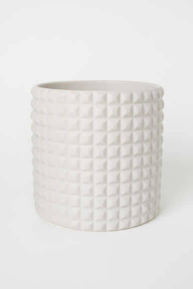 Large, textured plant pot - Light beige - Home All | H&M CN