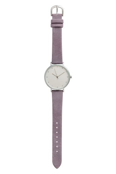 Metal watch with leather strap - Purple - Ladies | H&M GB 1
