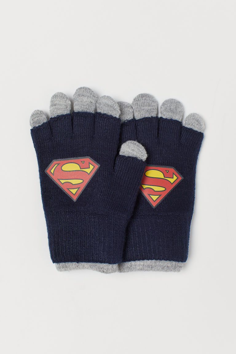 Gloves/Fingerless gloves - Dark Blue/Superman - Kids | H&M GB