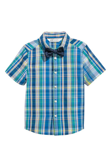 Shirt with a tie/bow tie - Blue checked/Bow tie -  | H&M CN