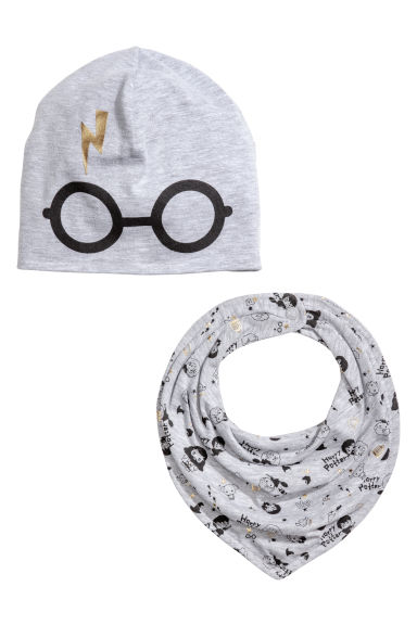 Hat and triangular scarf - Grey marl/Harry Potter - Kids | H&M IE