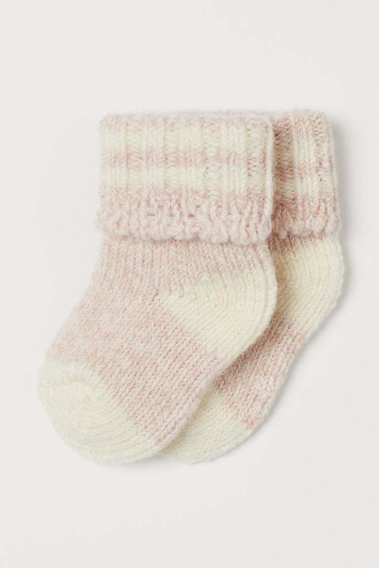 Thick wool-blend socks - Light pink marl - Kids | H&M GB