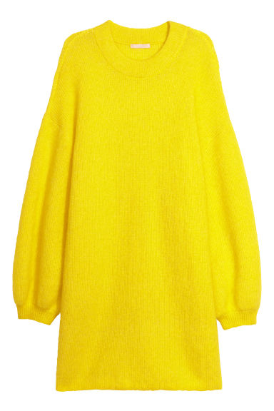 Oversized mohair-blend jumper - Neon yellow - Ladies | H&M GB