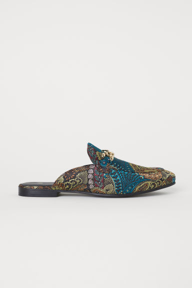 Patterned slip-on loafers - Dark green/Patterned - Men | H&M CN