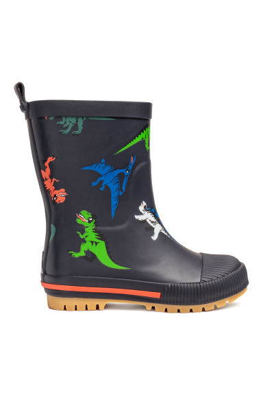 Patterned wellingtons - Dark blue/Dinosaurs - Kids | H&M CN