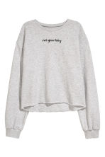 Cut-off sweatshirt - Light grey marl - Ladies | H&M 2