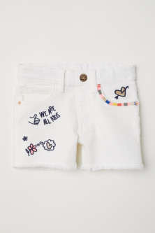 Twill shorts with appliqués