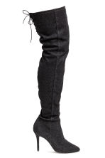 Thigh boots - Black/Glittery - Ladies | H&M 1