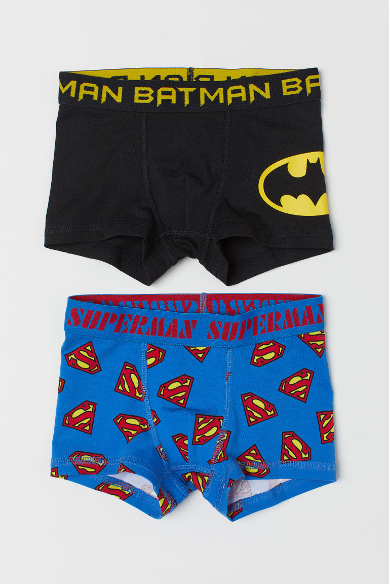 2-pack boxer shorts - Blue Superman/Black Batman - Kids | H&M GB