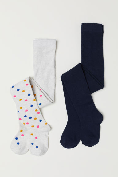 2-pack fine-knit tights - Light grey marl/Spotted - Kids | H&M CN