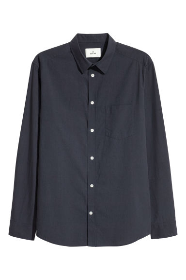 Cotton poplin shirt - Black - Men | H&M
