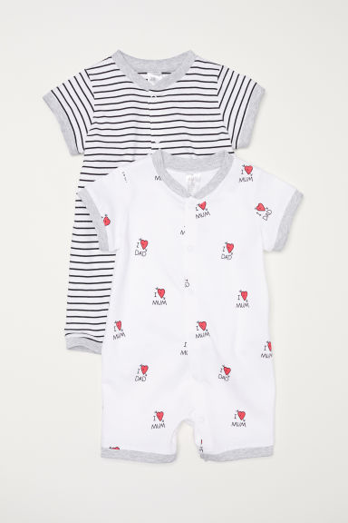 2-pack all-in-one pyjamas - White/Hearts - Kids | H&M CN