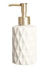Stoneware soap dispenser - White/Gold-coloured - Home All | H&M IE 2