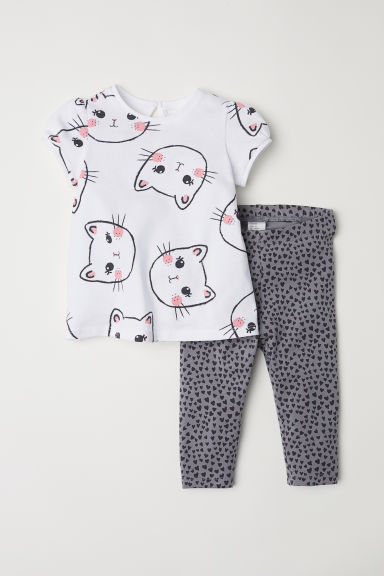 Camiseta y leggings - Blanco/Gatos - NIÑOS | H&M ES