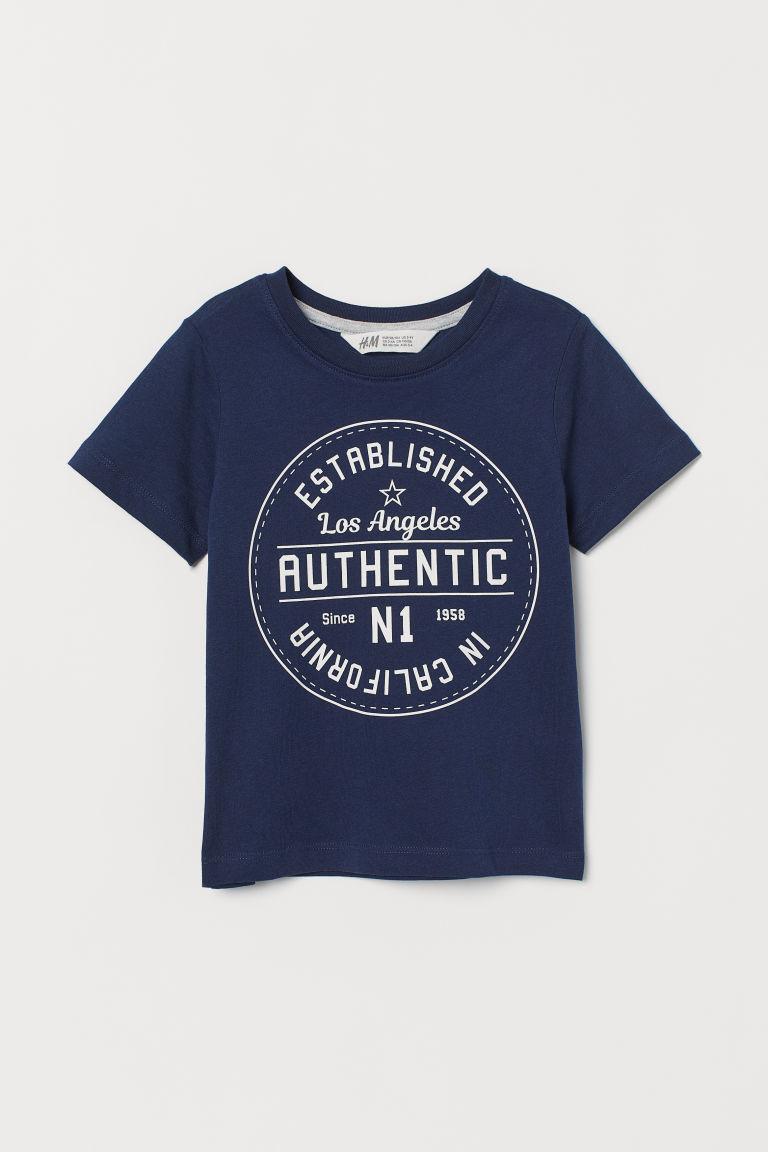 Printed T-shirt - Dark blue/Authentic - Kids   H&M GB