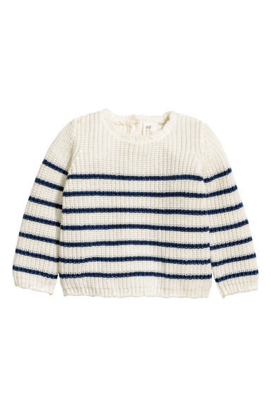 Knitted jumper - White/Striped - Kids | H&M CN