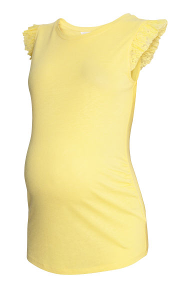 MAMA Linen-blend top - Light yellow - Ladies | H&M CN