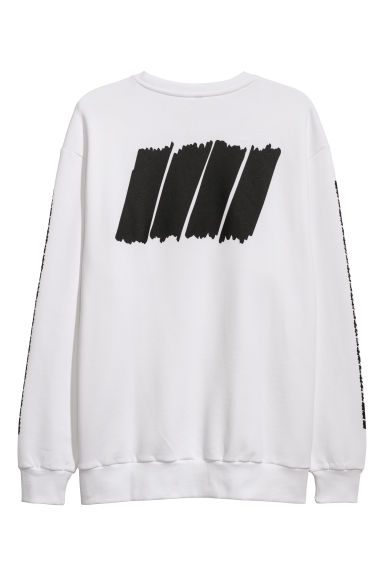 Sweatshirt with a print motif - White - Men | H&M GB