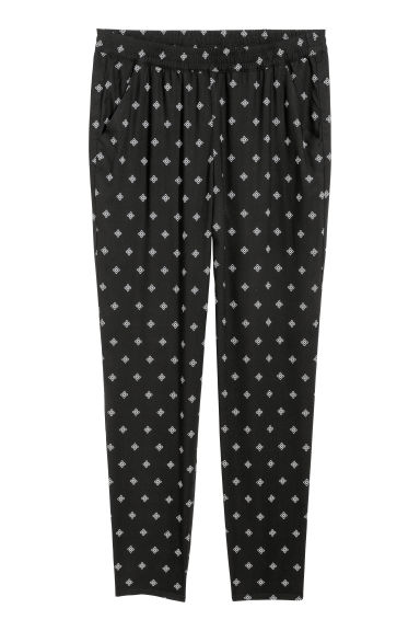 Elasticated viscose trousers - Black/Patterned - Ladies | H&M