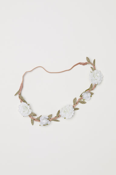 Hairband with flowers - Natural white - Ladies | H&M