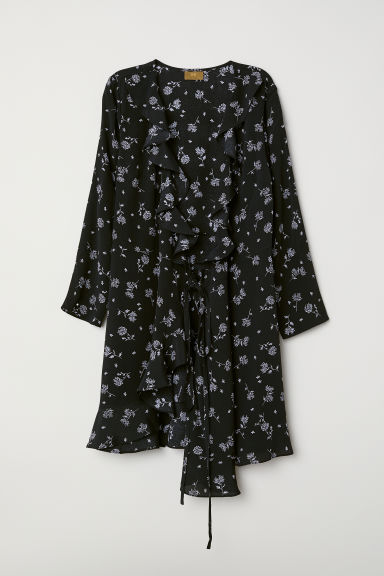 Wrap dress - Black/Patterned - Ladies | H&M