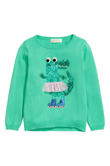 Knitted jumper with a motif - Green/Crocodile - Kids | H&M