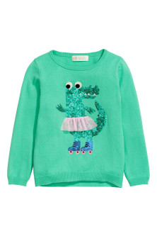 Knitted jumper with motif