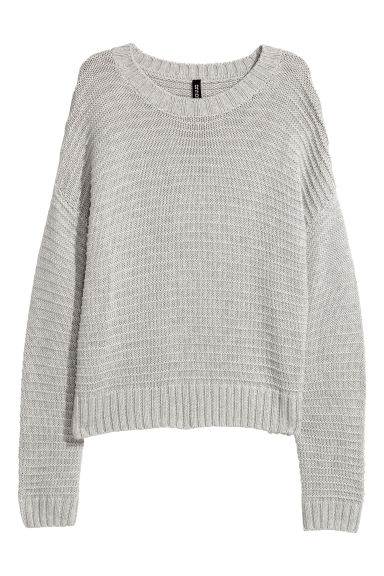 Textured-knit jumper - Light grey -  | H&M