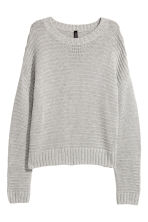 Textured-knit jumper - Light grey - Ladies | H&M 1