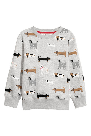 Printed sweatshirt - Light grey/Dogs - Kids | H&M CN