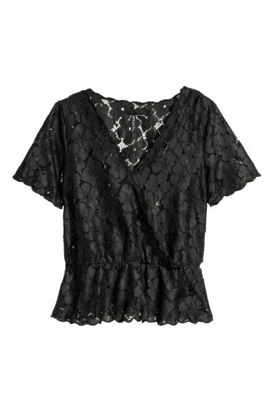 Wrapover lace blouse - Black - Ladies | H&M CN