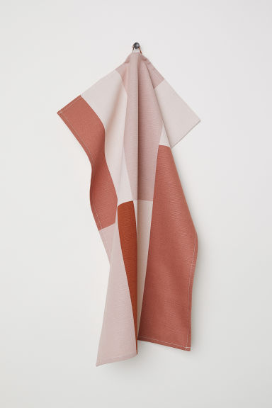 Block-patterned tea towel - Rust brown/Multicoloured -  | H&M IE