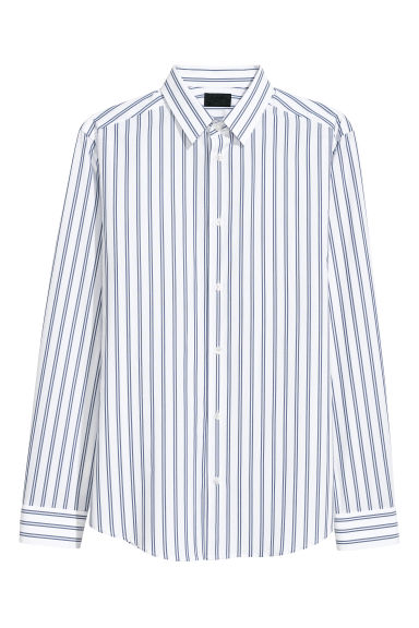 Striped shirt Slim fit - White/Blue striped -  | H&M