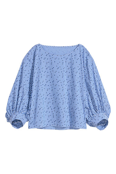Patterned cotton blouse - Blue/White striped -  | H&M IE